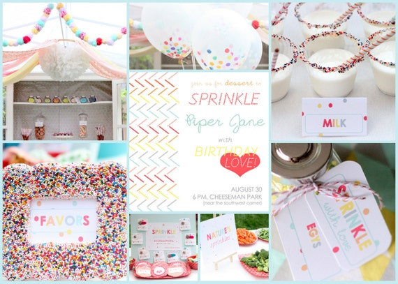 SPRINKLED WITH LOVE printable ensemble for a birthday party, baby shower or baby 'sprinkle'