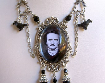 Mr. Poe : A Classically Gothic Festoon Necklace - Poe Necklace - Gothic Necklace - Halloween Necklace - Raven Necklace - Halloween Jewelry