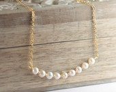 Freshwater Pearl and Gold Necklace, Gold Pearl Necklace, Simple Pearl Gold Necklace, Bridal Jewelry #693