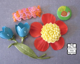 Prima Flowers - tulip, flower, snail - Embellishments by Ruby Violet - scrapbooking jewelry altered