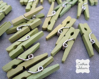 24 Mini Clothespins - Green - wood wooden - Baby Shower, Party Favor - Sage Green