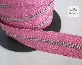Zipper by the YARD - Bubble Gum Pink - ribbon trim 1 yard - zipper flowers, scrapbooking embellishments