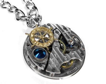 Steampunk Jewelry Pocket Watch Necklace PINSTRIPE Blue Crystal Ship Wheel Nautical Steam Punk For Men Holiday Gift -So COOL - by edmdesigns