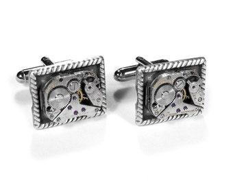Steampunk Cufflinks Vintage Ruby Jewel Watch Mens Cuff Links Silver Braid Rope Wedding Anniversary Groom Fiancee Dad - Jewelry by edmdesigns