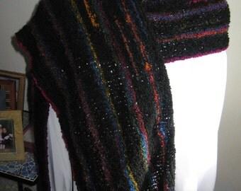 Rainbow and Black Handknit Stole/Rectangular Shawl