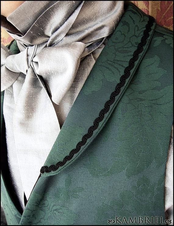 Absinthe - Regency Waistcoat - Vintage Green Brocade with Black Accents by Kambriel