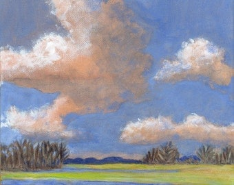 Crisp Morning Air - Landscape Painting Original Painting on Canvas Clouds and Blue Sky Springtime