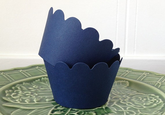 Cupcake Wrappers in Navy