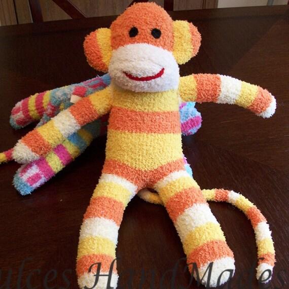 sock monkey handmade child safe ready to ship orange yellow white baby stuffed animal