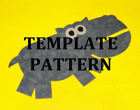 Applique Pdf TEMPLATE Pattern Only GREY HIPPO...New