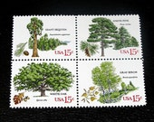 Vintage MINT Unused US postage stamps .. 20 American Trees Stamps  .. 4 Different Trees Featured, Forest weddings, nature hunts, birds, fox