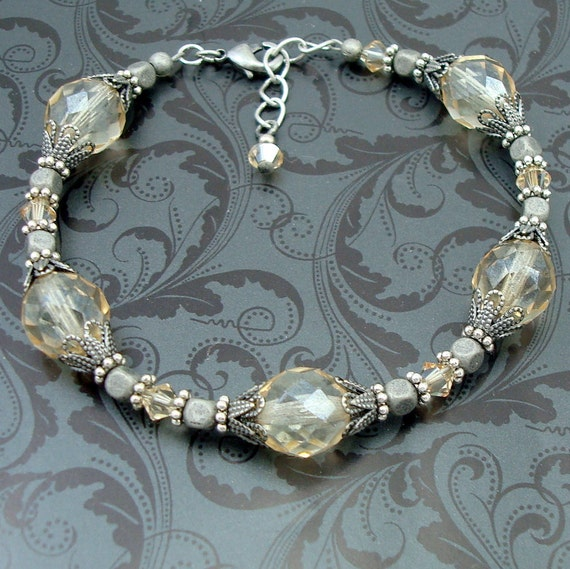 Silver and Glass Bead Bracelet, Neo Victorian Jewelry, Adjustable Bracelet, Champagne Luster