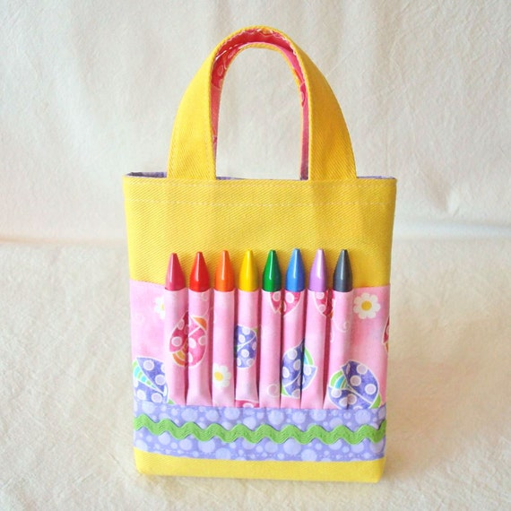 CLEARANCE ARTOTE MINI Coloring Bag Crayon Bag Art Tote in Lady Pink Bug