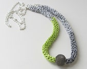 Silk necklace, fibre art necklace, statement jewelry, color blocked necklace, gray and green necklace, silk jewelry, knitted silk ribbon