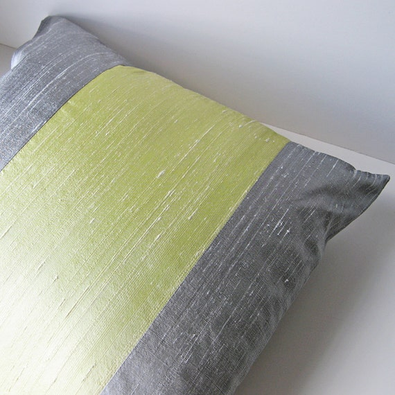 "Striped silk pillow cover 18"" x 18"" chartreuse and gray"