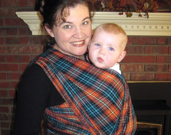SALE Baby Sling Plaid Non stretchy Baby Wrap Carrier - Airy Cotton Gauze Amber and Turquoise - DVD included
