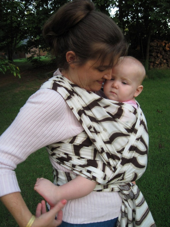 Woven Baby Wrap Carrier - Cotton Gauze in Wild Giraffe Stripe - DVD included - ltd edition