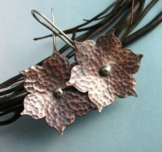Copper Earrings, Mixed Metal Earrings, Lotus Flower Earrings, Contemporary Earrings, Sterling Silver And Copper Jewelry, Metalsmith Jewelry