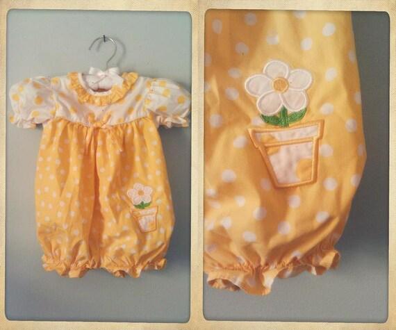 Vintage Sunflower Yellow Romper-Size 6-9 Months