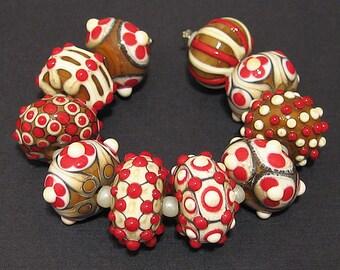 Handmade Designer Lampwork Glass Bead Set Artisan Rounds AKDesigns Aloha