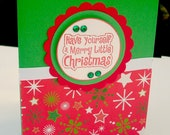 Christmas Card Set, Have Yourself a Merry Little Christmas Saying, 12 Red and Green Cards, Holiday Card Set, Christmas Stationery