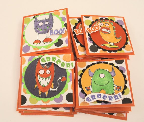 Monster Mini Halloween Note Cards, Set of 16, 3x3, 4 Styles of Monsters Envelopes included