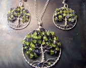 Family Tree necklace Earring Set - Personalized gift - Birthstone Jewelry - gift for mother in law - great grandmother - sterling silver