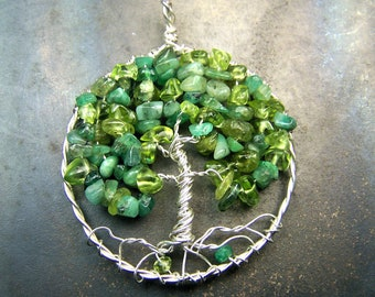 Tree of Life necklace - Emerald and Peridot - Green Gemstones - May and August birthstones - Sterling Silver - circle - celtic - mandalarain