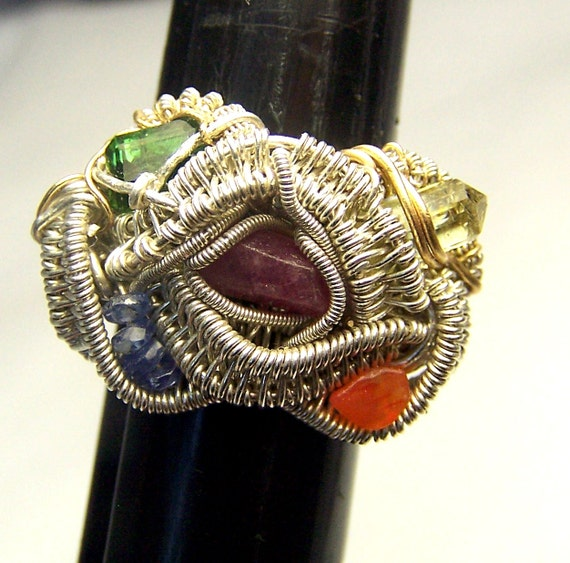 Wire wrapped Crystal and Gemstone ring - Sterling Silver - Size 7 3/4  - Ruby - Green Tourmaline - Yellow Apatite - Sapphire - Carnelian