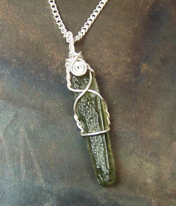Moldavite - Moldavite necklace pendant - Sterling Silver wire wrap - argentium - single stone - meteorite - wire wrapped - mandalarain