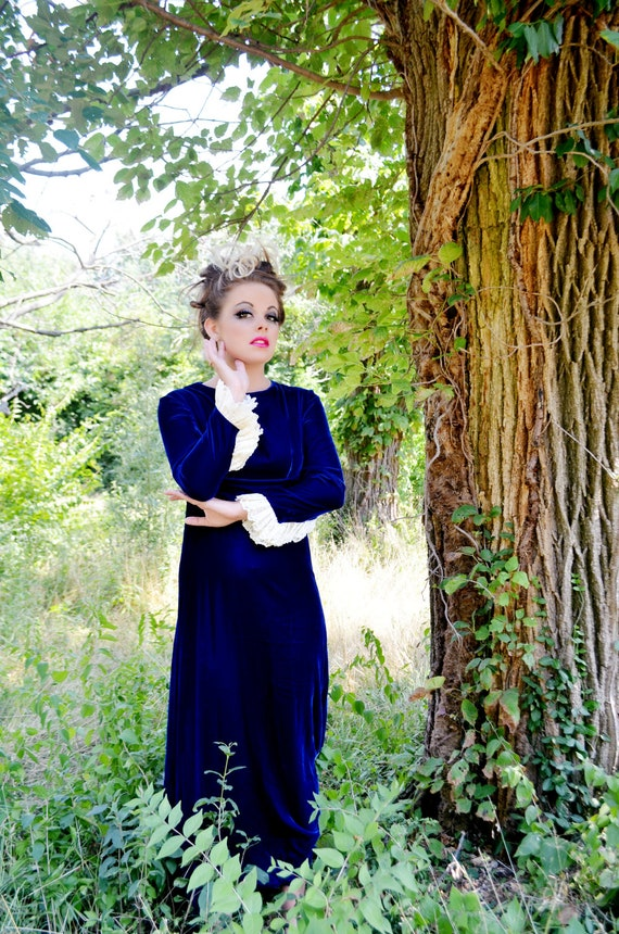 SALE Half Off  Vintage 1960's Dress Lorrie Deb Union Made Sapphire Blue Velvet