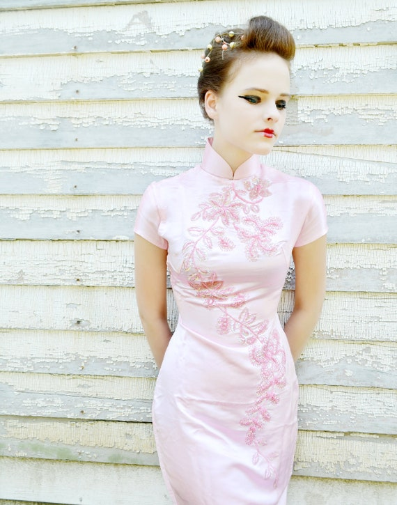 Take Extra 50% Off 48 Hour SALE Late 1960's Vintage Asian Gown Wedding Dress Pale Pink Sequins