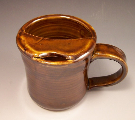 Handmade Pottery Mustache Mug in Rich Amber Brown