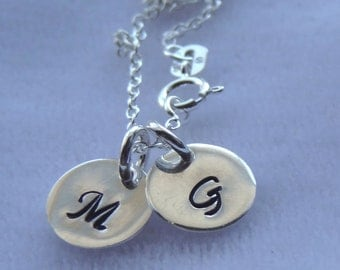 Stamped Sterling Silver Necklace, Custom engraved initial charm necklace, Monogrammed Initial Necklace, Monogram Personalized Necklace