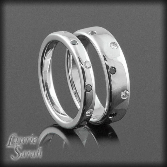 Wedding Ring Set Black and White Diamond His and Hers Wedding