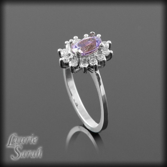 Sapphire Engagement Ring Dainty Oval Purple Sapphire Ring