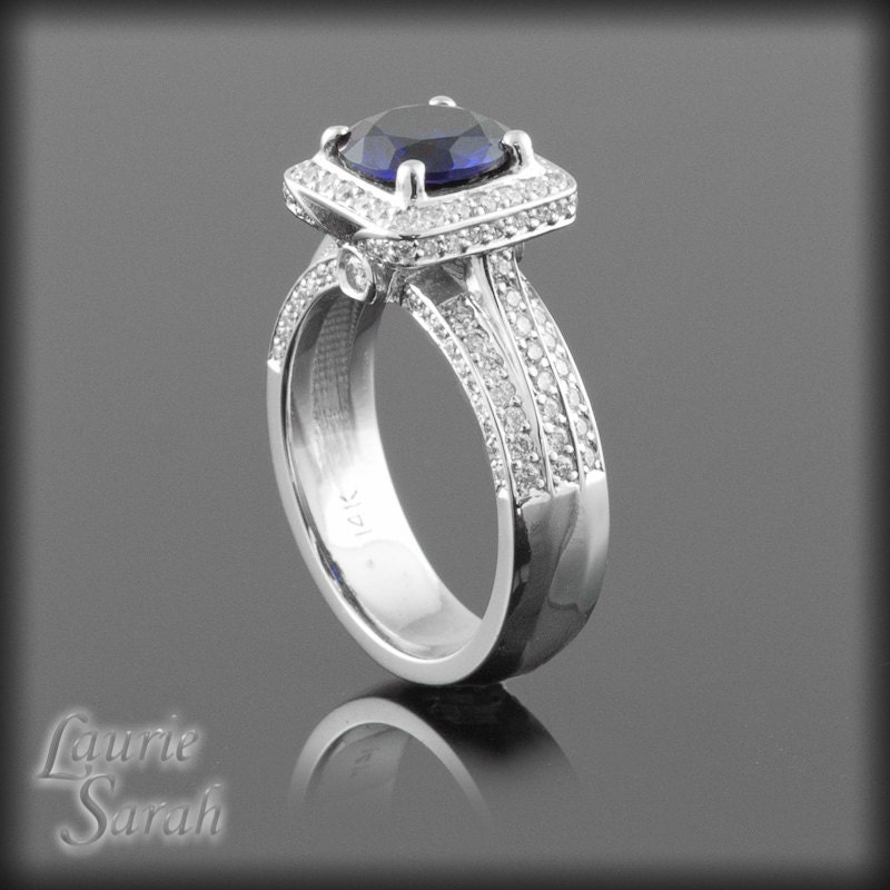 Sapphire Engagement Ring Lab Created Sapphire and Diamond