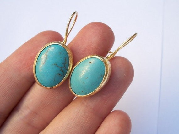 SALE SALE SALE--------Turquoise gold plated brass earring