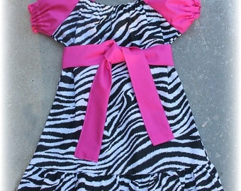 Custom Boutique Zebra Pink Peasant Dress Birthday  size 12 18 24 2t 3t 4t 5t 6 7  girl outfit
