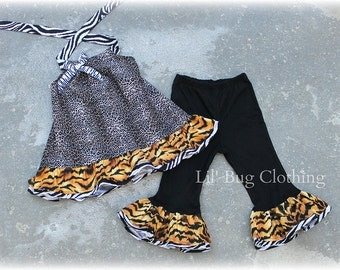 Custom Boutique Tiger Leopard and Zebra A line Halter Top and Black Knit Capris