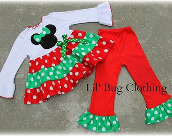 Minnie Mouse Christmas Outfit, Minnie Mouse Girl Clothes, Red Green Minnie Mouse Polka Dot Girl Outfit, Boutique Girl Clothes