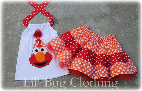 Elmo Polka Dot Birthday Hat Orange and Red Tiered Skirt and Halter Top Spring Summer  Set Birthday Girl Bow