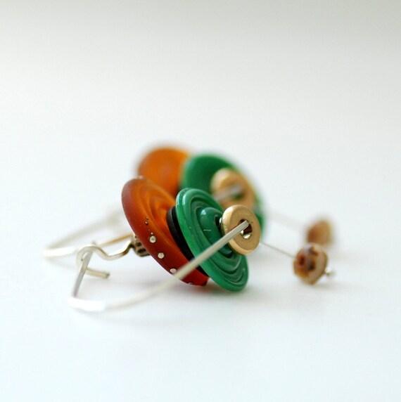 Copper and Green Glass Earrings, Modern Jewelry, Dangle Earrings, Statement Earrings, Sterling Silver, Jewelry Under 50