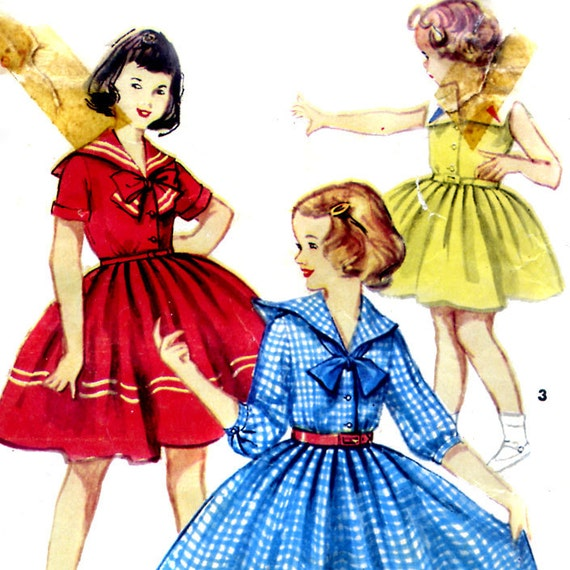Vintage 50s Girls Nautical Sailor Dress Pattern- Size 7 Breast 25 Simplicity 4951