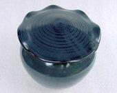 Black Satin Pottery Jar with Lotus Leaf Lid