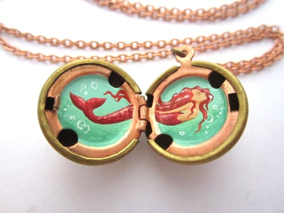 Pink Mermaid, Hand-Painted Oil Miniature, Red-head with Fuchsia Tail, Vintage Stock Brass Locket