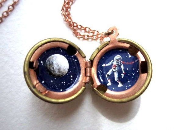 Astronaut Necklace, Hidden Galaxy, Full Moon and Stars Painted in a Tiny Locket, Outer Space Locket