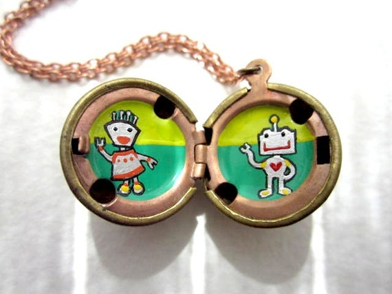 Robot Love Locket - Hand-painted in Lime Green, Kelly Green and Silver with Tiny Details, Buttons and Gadgetry