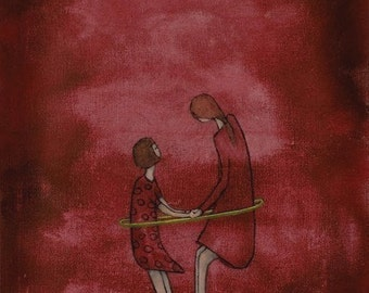 "Mom and daughter wall art. Giclee print. large wall art. cranberry red nursery art. ""Hula in Dresses - Mae and Bebe"""