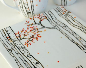 Birch Forest Painting - 3 Piece Personalized Anniversary Gift - Hand Painted Large Mugs and Sharing Plate - Pick your Season